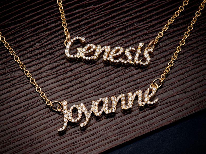 Custom Ladies Script Attached Necklace Diamond Pendant 14K