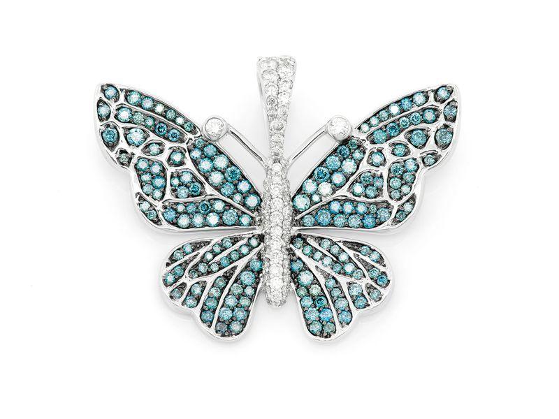 Butterfly Pendant 14K   1.95ctw