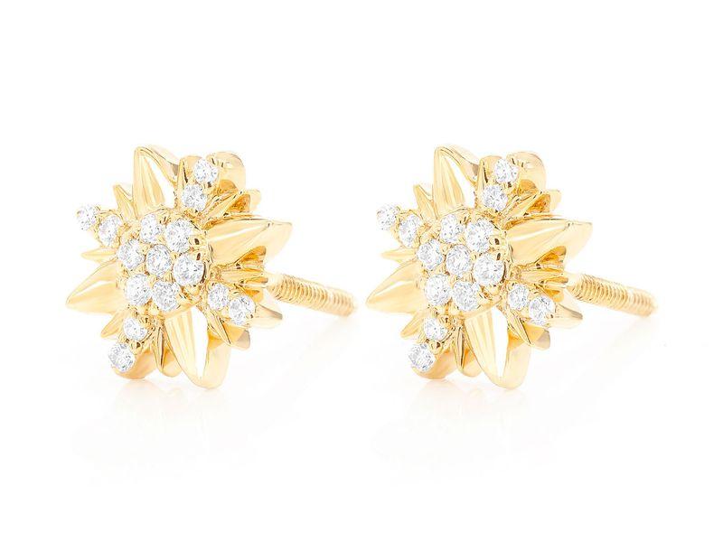 Petal Flower Stud Earrings 14K   0.13ctw