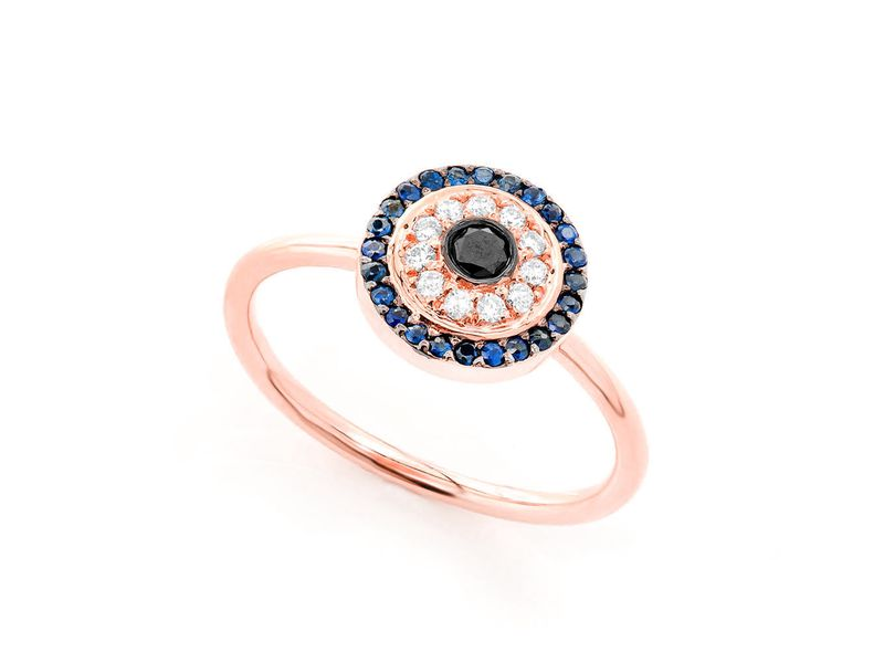 Round Evil Eye Ring 14K   0.32ctw