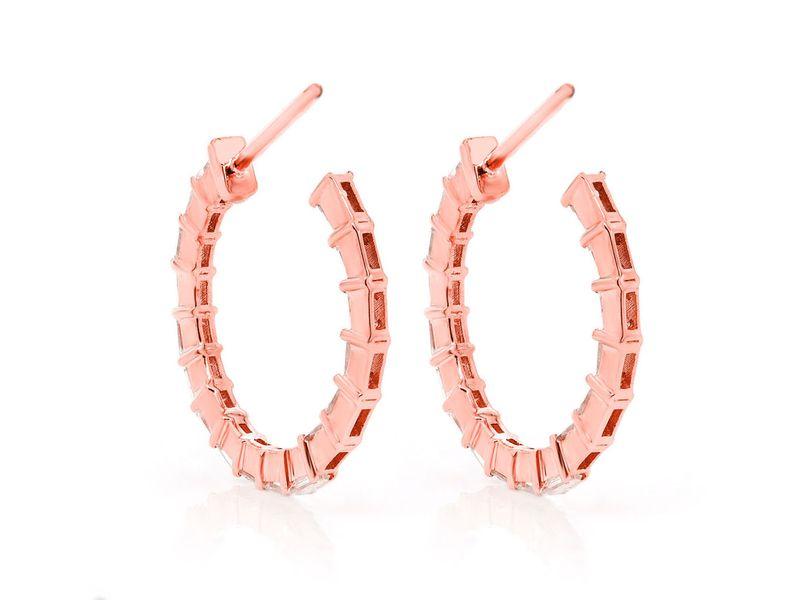 Baguette Hoop Earrings 14K   0.79ctw