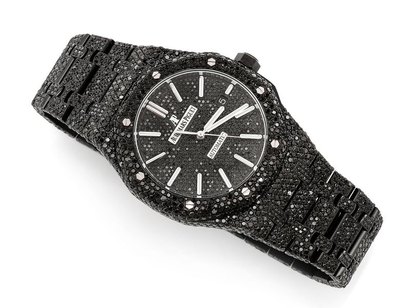 Pre-owned Audemars Piguet Black Diamonds 41MM Stainless  ICED OUT