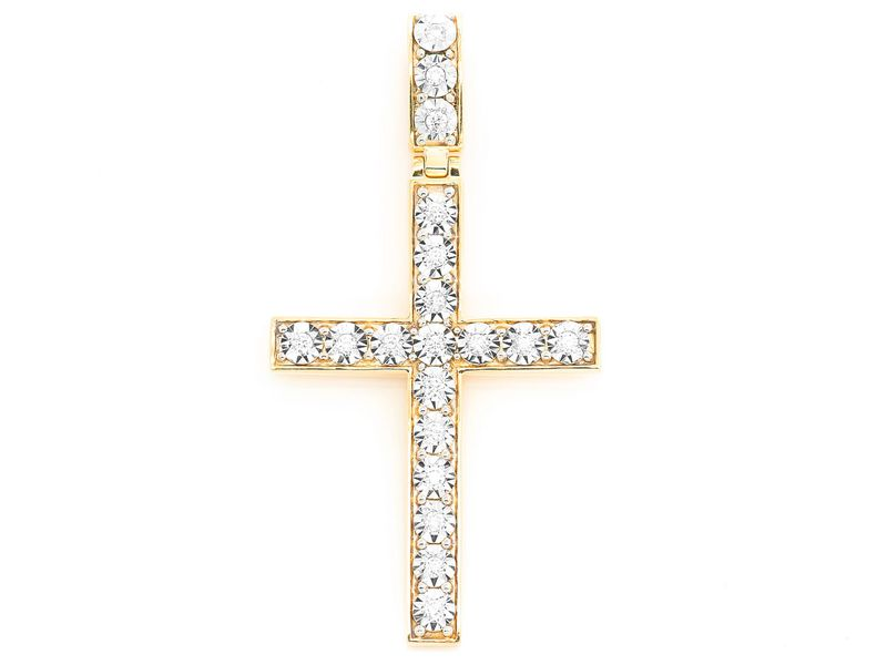 Miracle Set Cross Extra Large Pendant 14K   0.78ctw