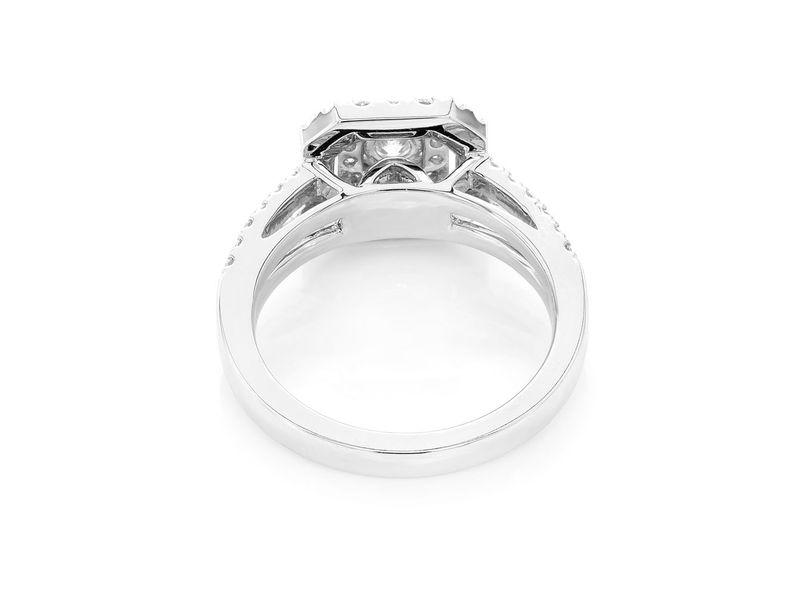 Princess Two Tier Halo W/ Split Shank Ring 14K   0.73ctw