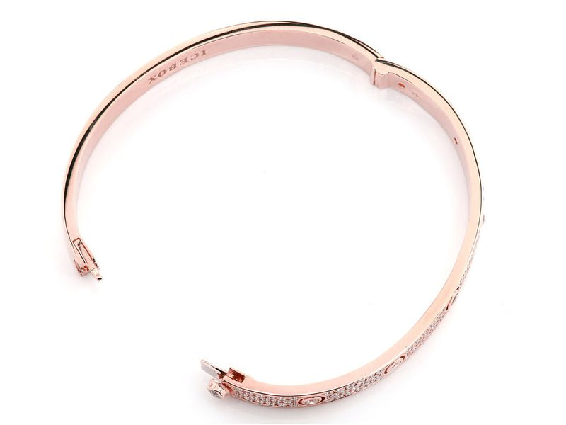 Extra Large Signature Bangle Half Diamond Bracelet 14K   3.31ctw