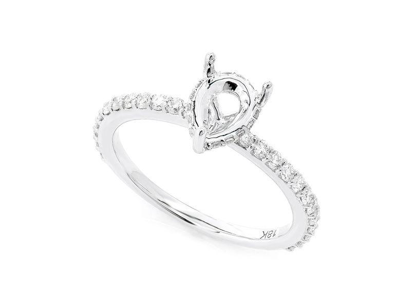 Pear Shape Under Halo Diamond Semi Mount Ring 18K   0.41ctw
