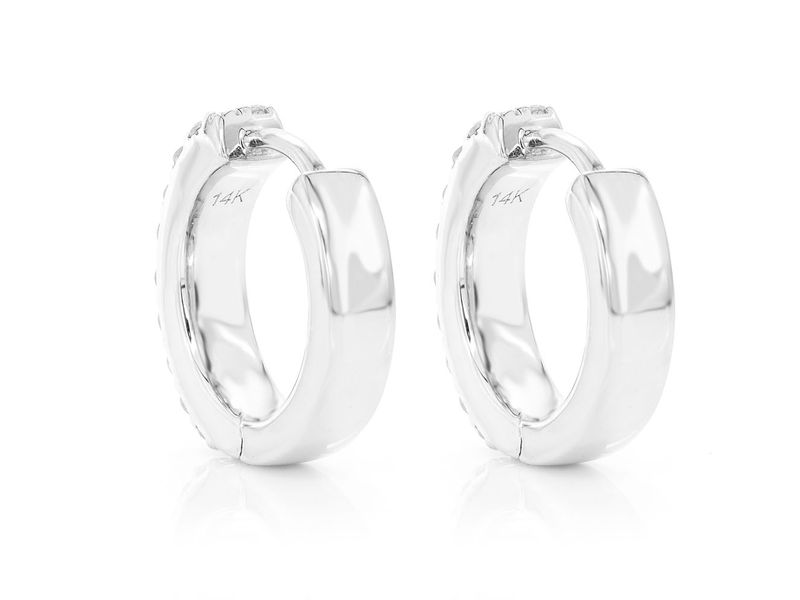 Elma 2 Row Huggie Hoop Earrings 14K   0.35ctw