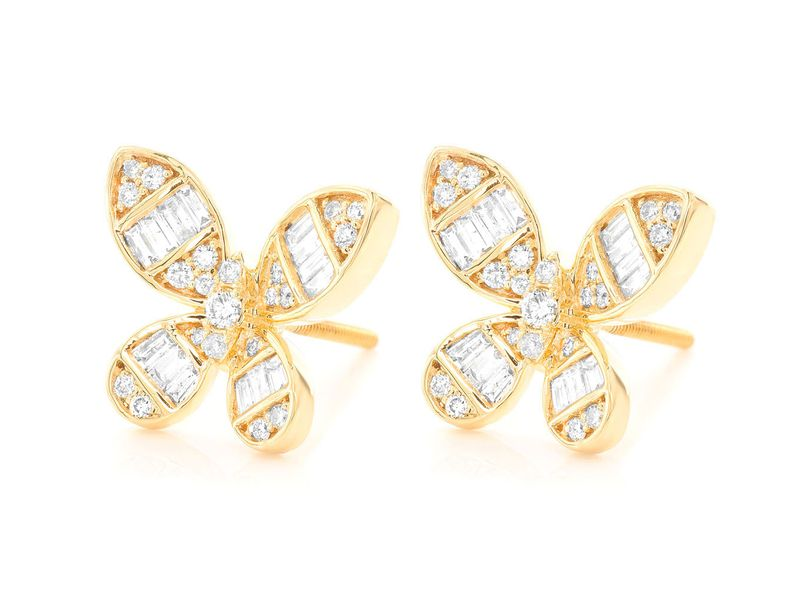 Butterfly Baguette Stud  Earrings 14K   0.64ctw