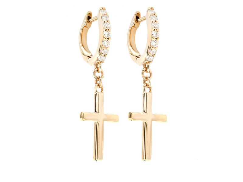 Cross Hoop Earrings 14K   0.15ctw