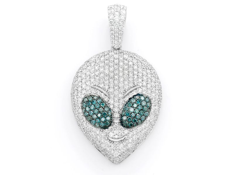 Alien Head Pendant 14K   3.26ctw