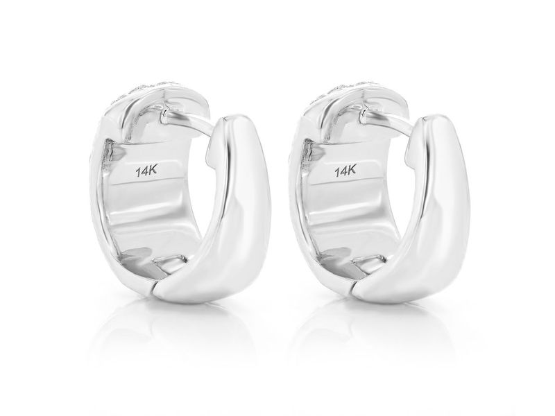 Wide Rounded Huggie Hoop Earrings 14K   1.16ctw