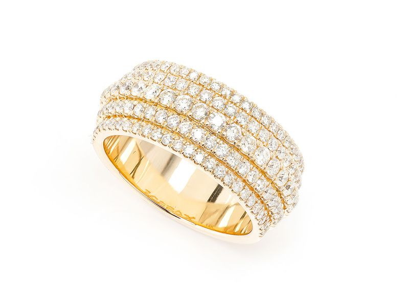 5 Row Tier Ring 14K   1.95ctw