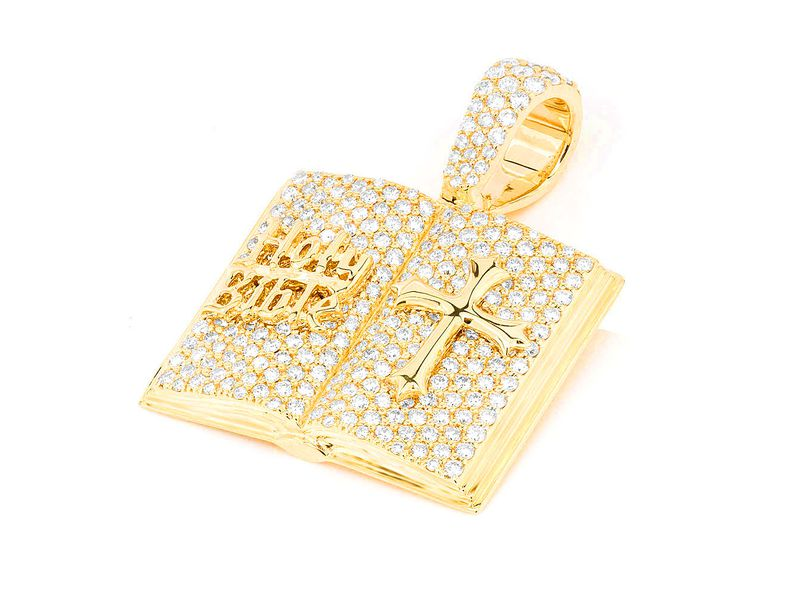 Open Bible Book Pendant 14K   2.09ctw