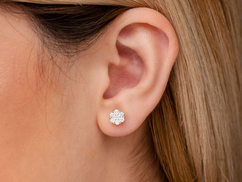 Round Flower Stud Earrings 14K   0.75ctw