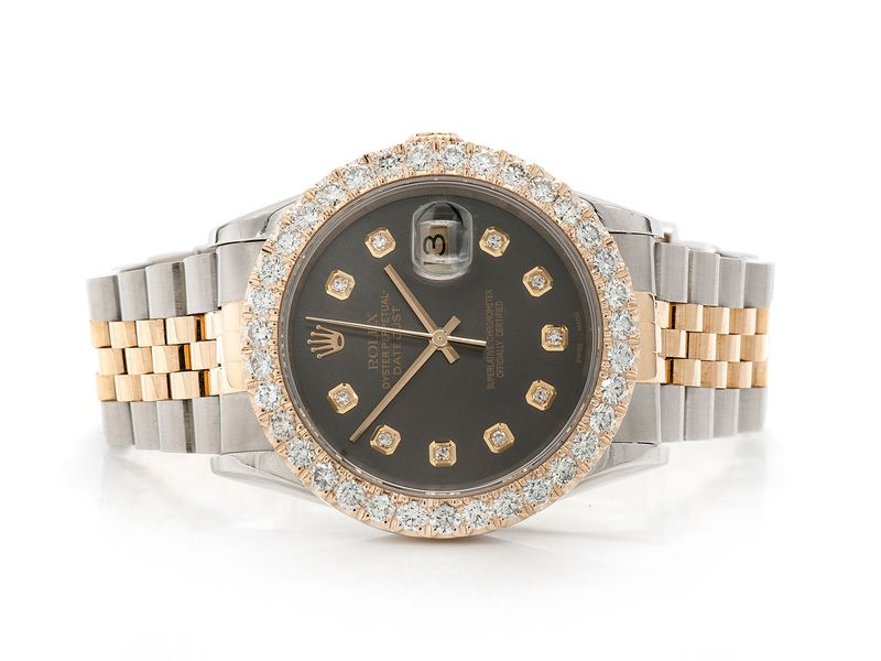 Pre-owned Rolex Datejust 36MM 18K/SS  3.39ctw