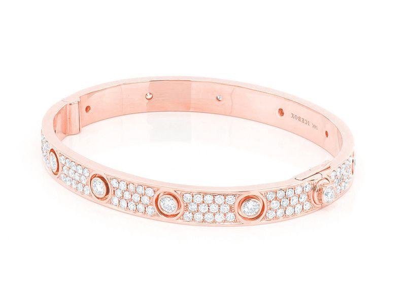 Medium Signature Bangle Full Diamond Bracelet 14K   5.38ctw