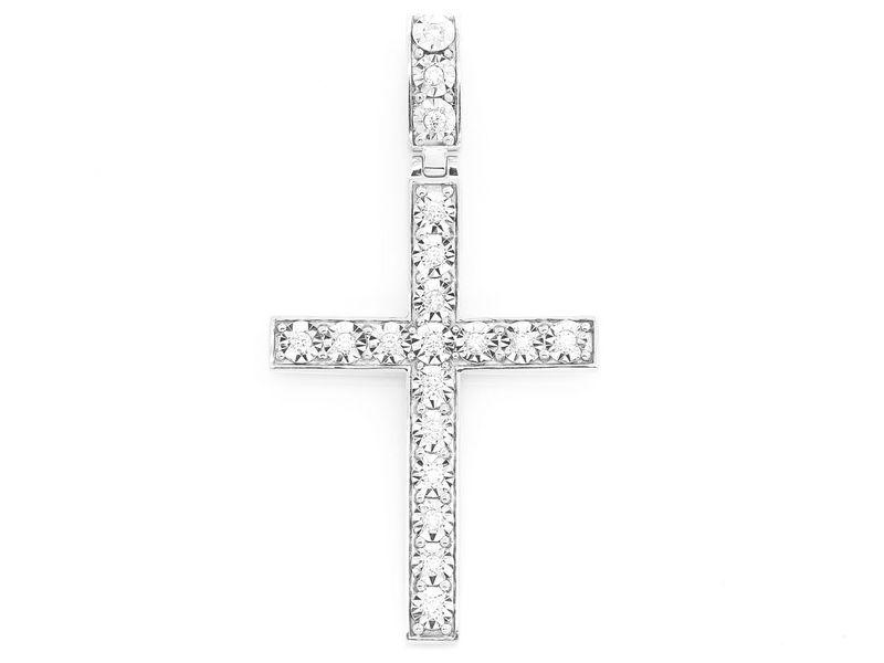 Miracle Set Cross Pendant 14K   0.78ctw