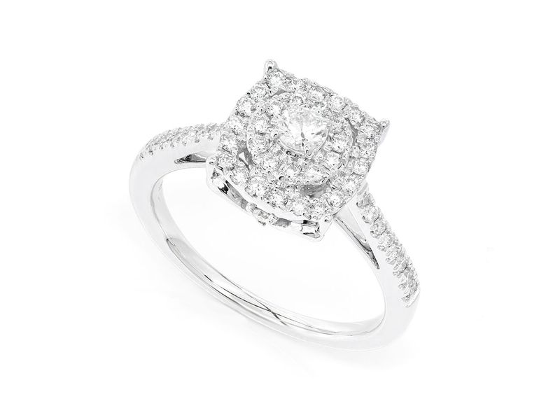 Square And Round Engagement Ring 14K   0.48ctw