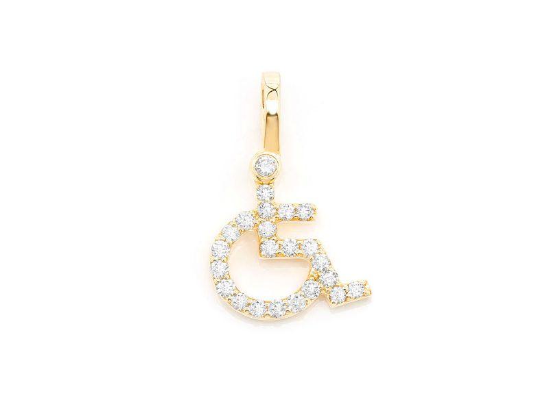Wheelchair Logo Pendant 14K   0.26ctw