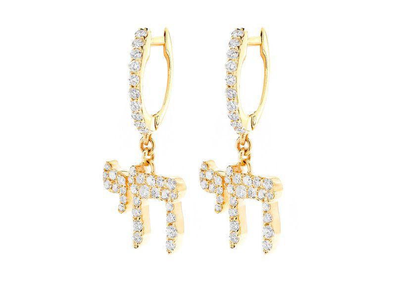 Chai Dangling Earrings 14K   0.76ctw
