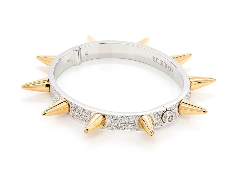 Spike Bangle Bracelet 14K   3.45ctw