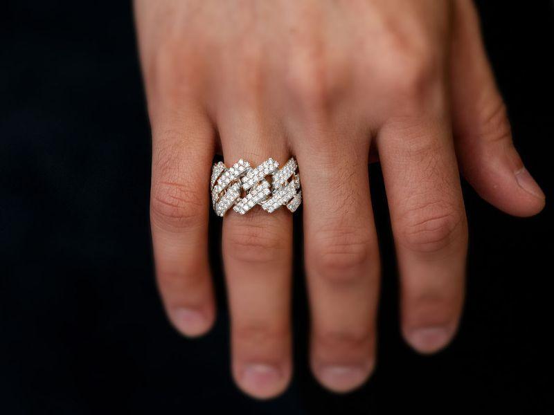 Jagged Raised Cuban Ring 14K   2.40ctw