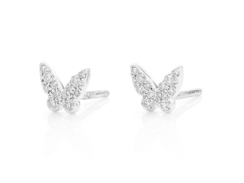Mini Butterfly Earrings 14K   0.17ctw
