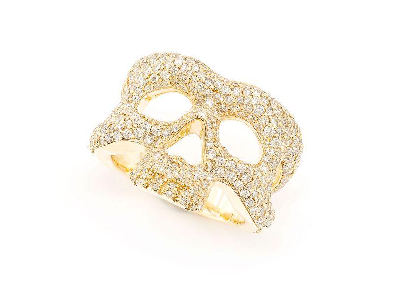 Skull Wrap Signet Ring 14K   3.20ctw