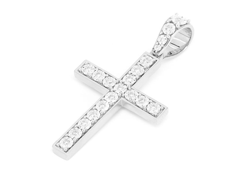 Miracle Cross Large Pendant 14K   0.35ctw