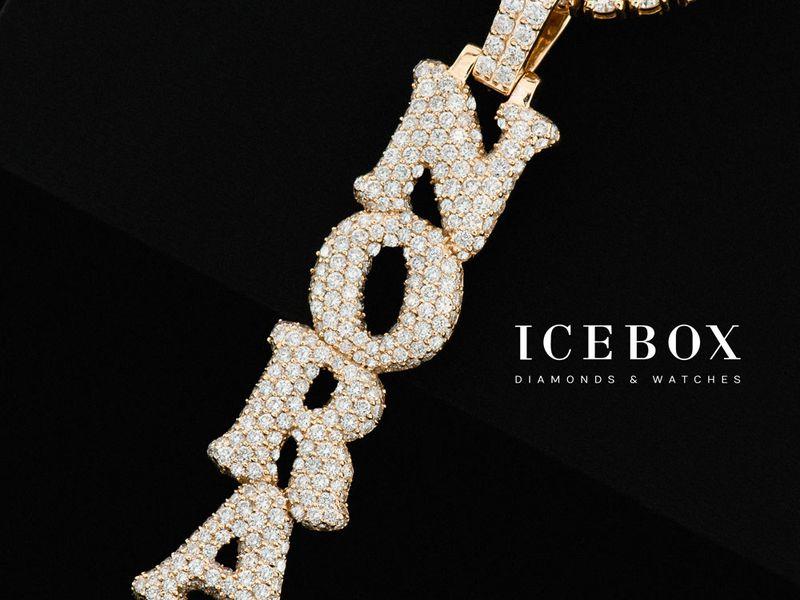 Custom Vertical Rounded Letters Diamond Pendant 10K   3.28ctw