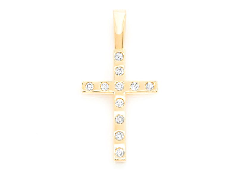 Gypsy Set Cross Pendant 14K   0.36ctw