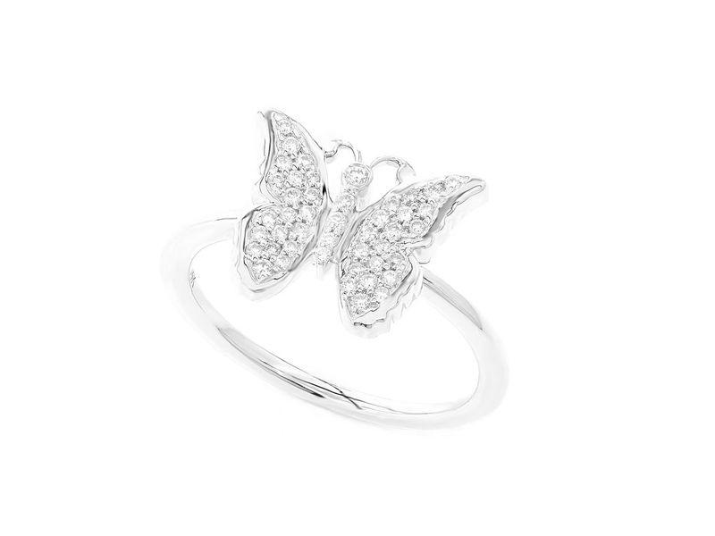 Feminine Butterfly Emoji Ring 14K   0.19ctw