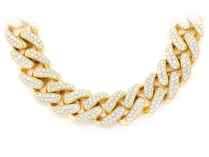 18mm Diamond Miami Cuban Necklace 14K   37.20ctw