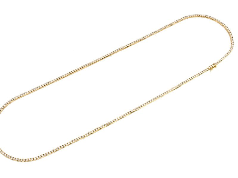3pt Tennis Necklace 14K   7.25ctw