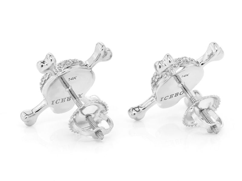 Skull & Crossbones Earrings 14K   0.52ctw