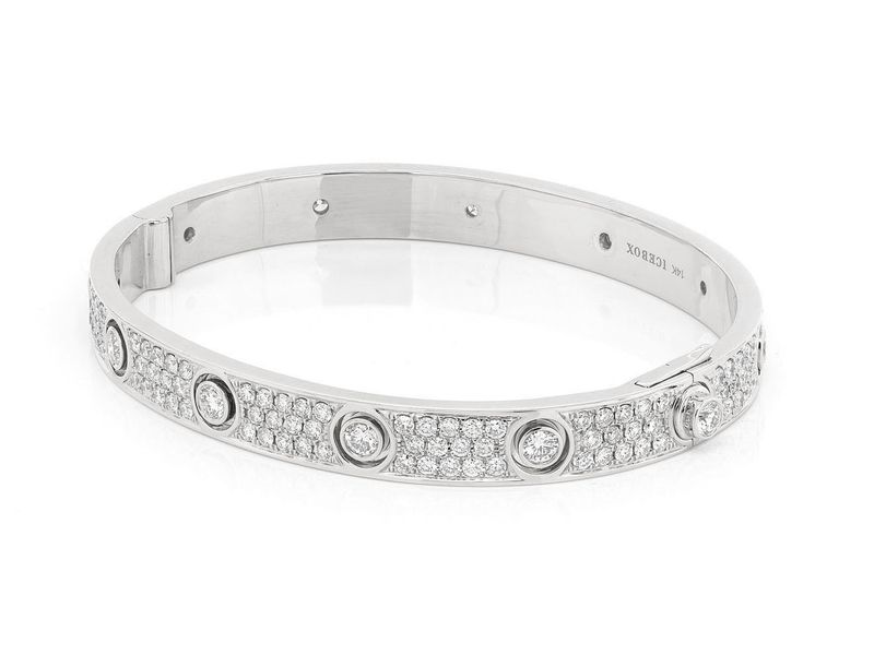 Medium Signature Bangle Full Diamond Bracelet 14K   5.38ctw