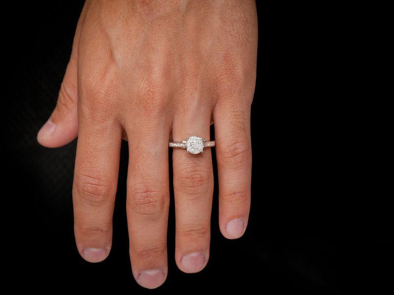 Round Halo Engagement Ring 14K   0.46ctw