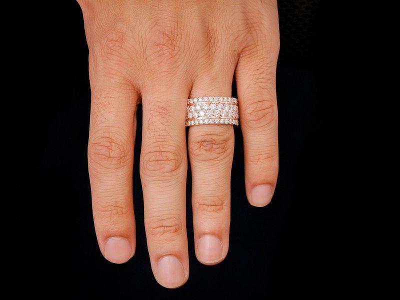 4 Row Round Eternity Wedding Band Ring 18K   6.84ctw