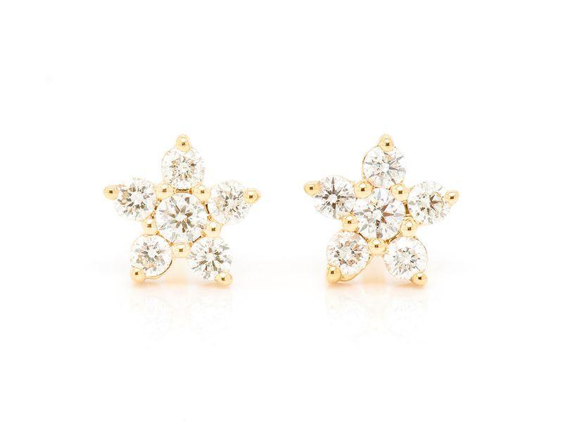 Mini 5 Point Star Earrings 14K   0.10ctw