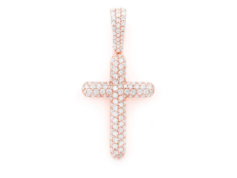 Bubbly 3 Row Cross Pendant Medium Pendant 14K   1.12ctw