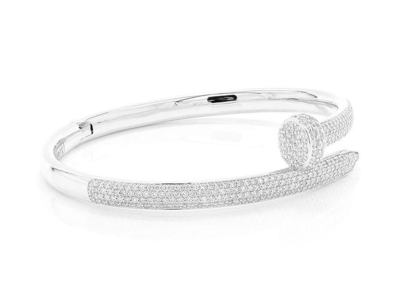 Large Nail Bangle Half Diamond Bracelet 14K   3.25ctw