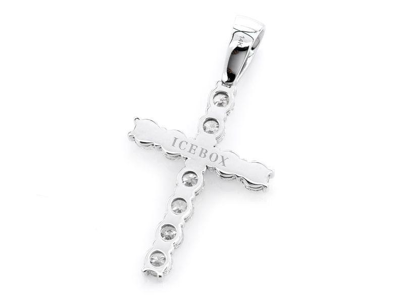Solitaire Cross Pendant 14K   3.76ctw