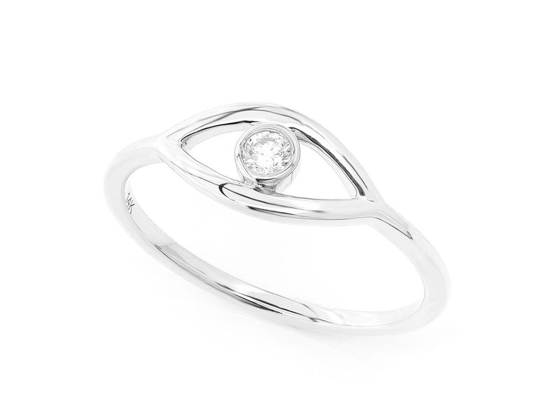 Plain Evil Eye Promise Ring 14K   0.07ctw