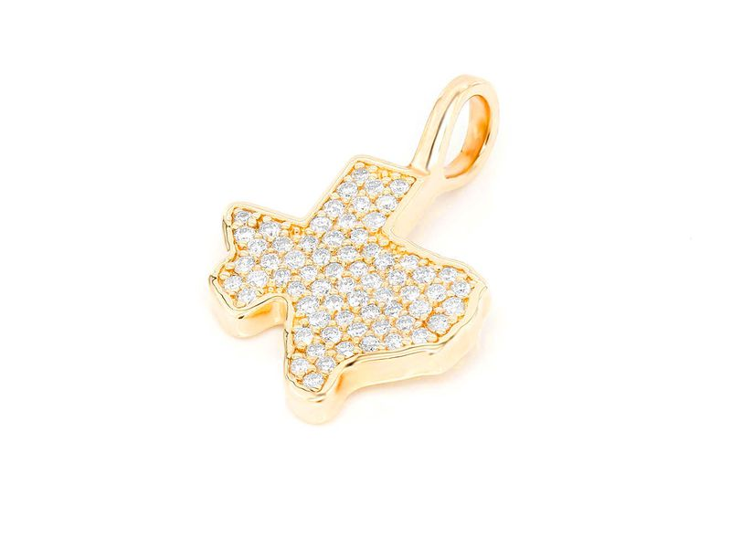Texas State Outline Pendant 14K  0.30ctw