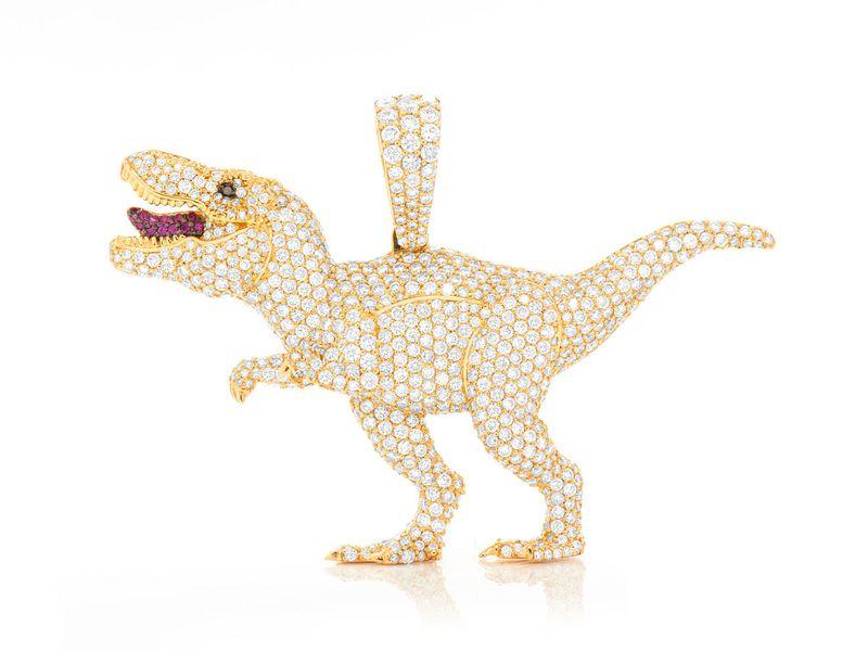 T-Rex Dinosaur Pendant 14K   6.60ctw