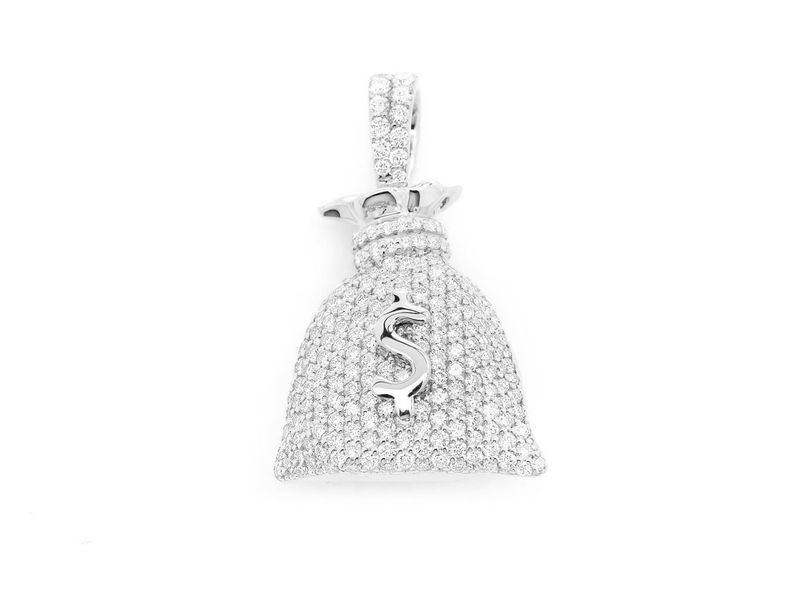 Money Bag Pendant 14K   1.57ctw