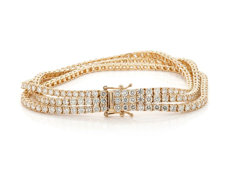 Three Row Tennis Bracelet 14K   12.85ctw