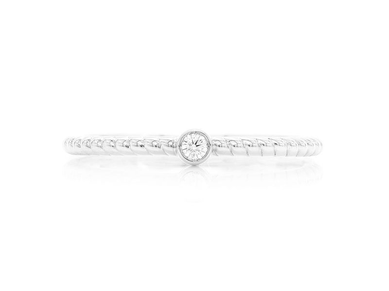 Round Bezel Rope Betty Collection  Ring 14K   0.03ctw