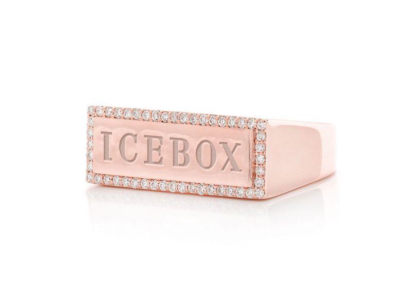 Icebox Logo Ring 14K   0.30ctw