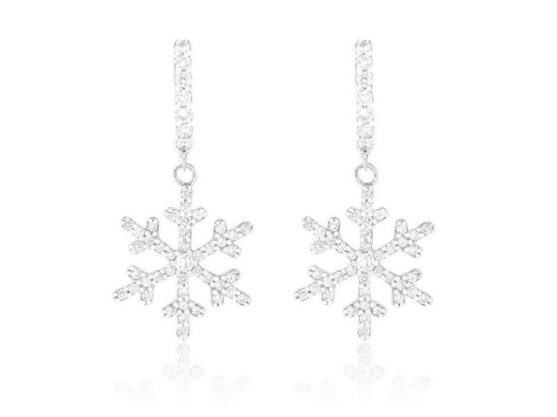 Snowflake Huggie Earrings 14K   0.50ctw